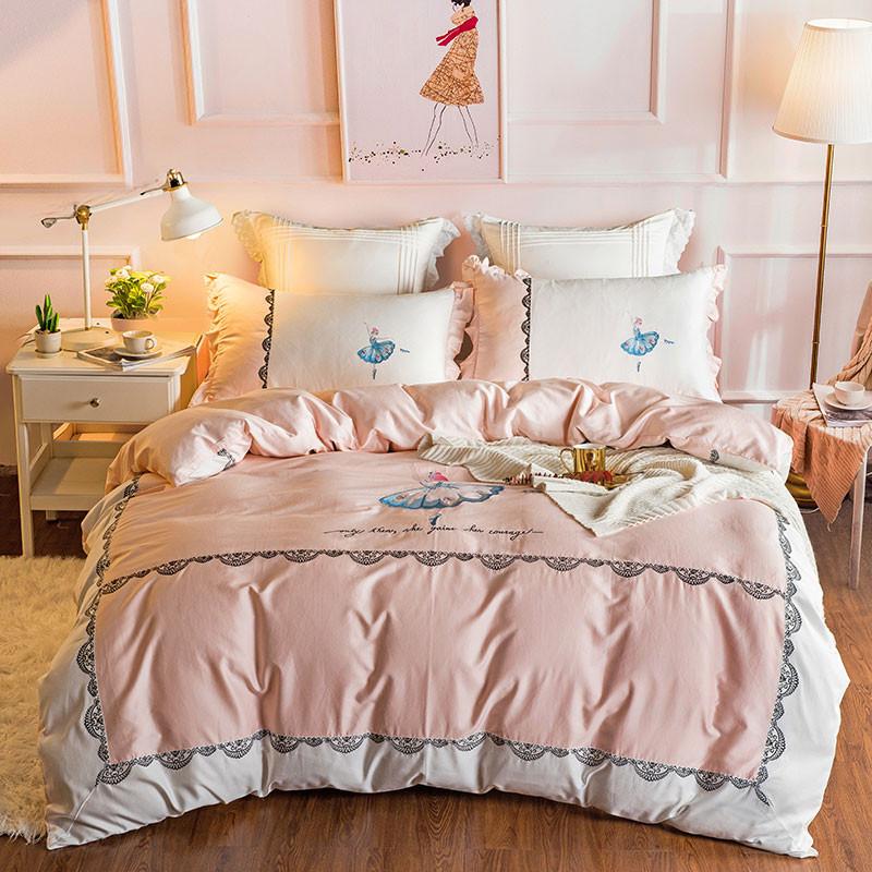 60s Egypt Cotton Luxury 4 Or 7pcs, Princess Bed Set Queen